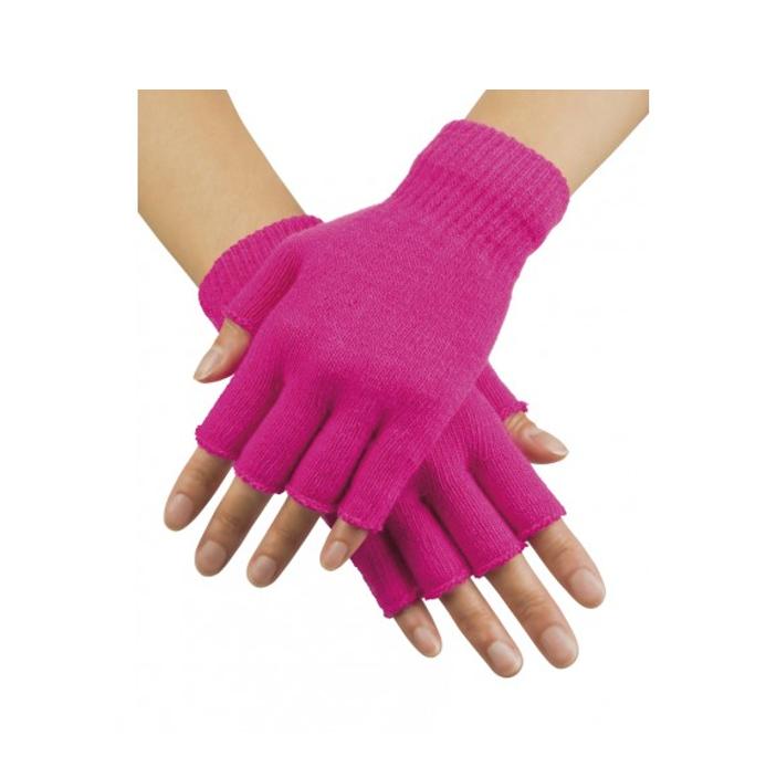 Korte Vingerloze Handschoenen   Fluo Roze