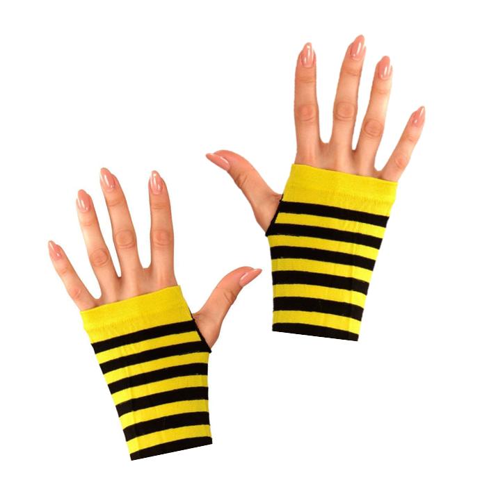 Korte Vingerloze Handschoenen | Zwart/Geel