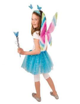 Vlinder Set/ Elf | Vleugels, Tutu, Staf | Blue