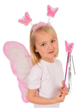 Vlinder Set/ Elf | Vleugels, Diadeem,  Staf | Roze