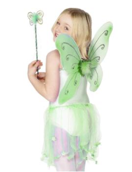 Vlinder Set/ Elf | Vleugels,  Staf | Groen
