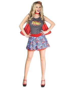 Comic Stripgirl Kleed + Cape  | Dameskostuum