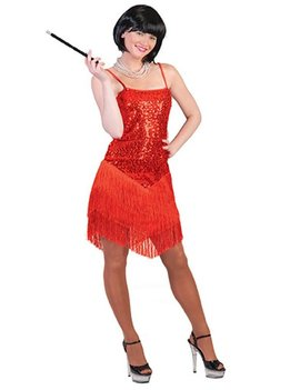 Fringie Flapper Rood| Dameskostuum | 20's Kleedje