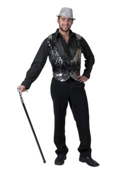 Zilver Jazz Showman Vestje | Herenkostuum