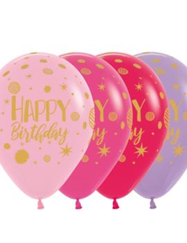 Happy Birthday 12 inch | 25 Stuks | Roze/Paars