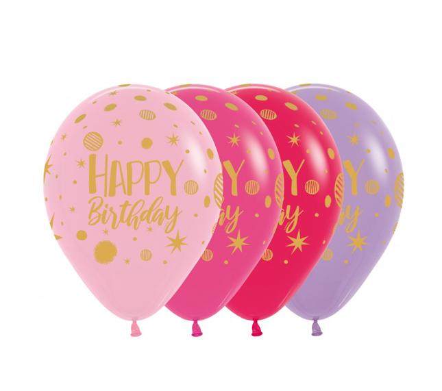 Happy Birthday 12 inch   25 Stuks   Roze/Paars