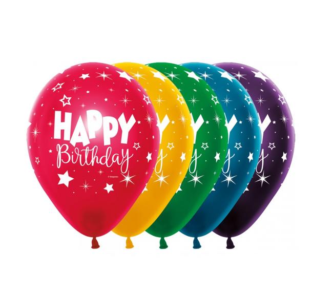 Happy Birthday 12 inch   8 Stuks    Multicolor