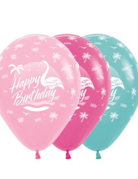 Happy Birthday 12 inch | 25 Stuks | Flamingo