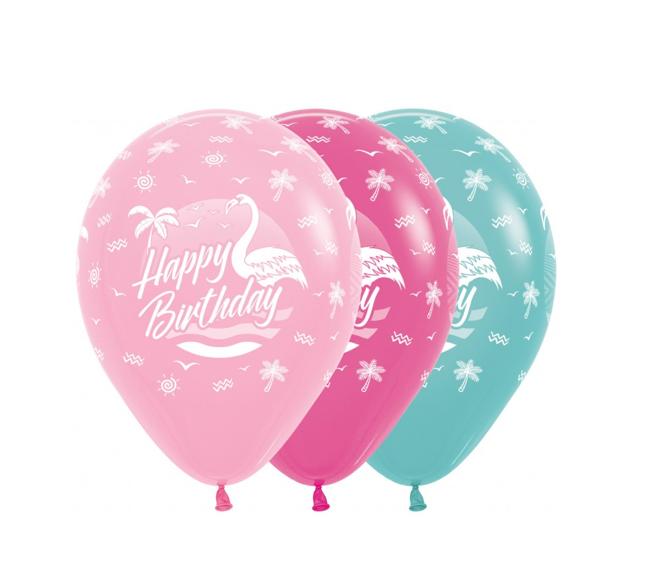 Happy Birthday 12 inch   25 Stuks   Flamingo