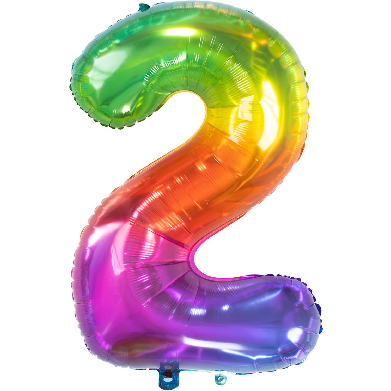 Cijfer 2  Folieballon Yummy Gummy Rainbow | 81cm