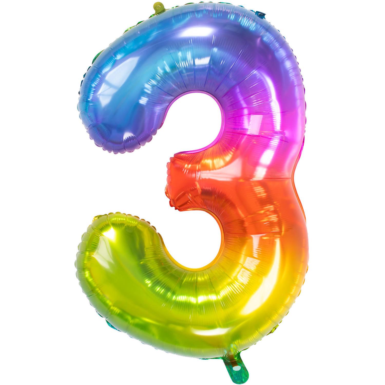 Cijfer 3  Folieballon Yummy Gummy Rainbow | 81cm