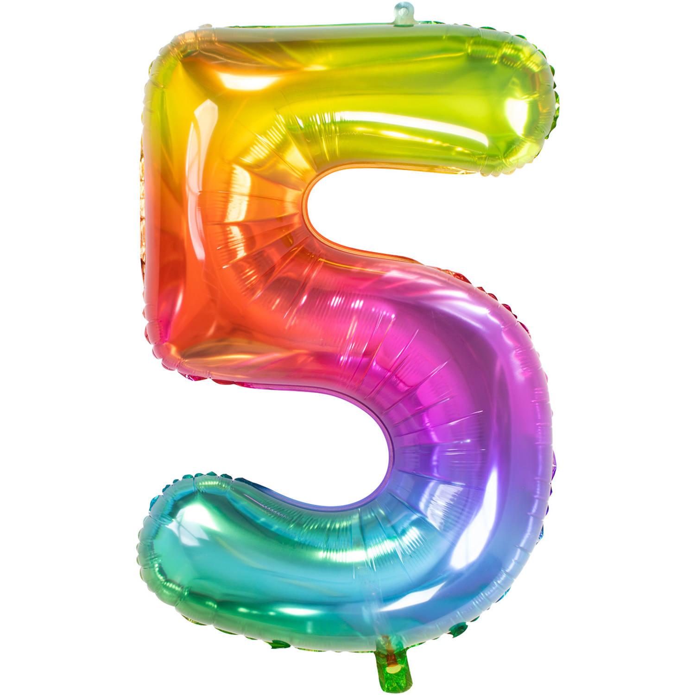 Cijfer 5  Folieballon Yummy Gummy Rainbow | 81cm