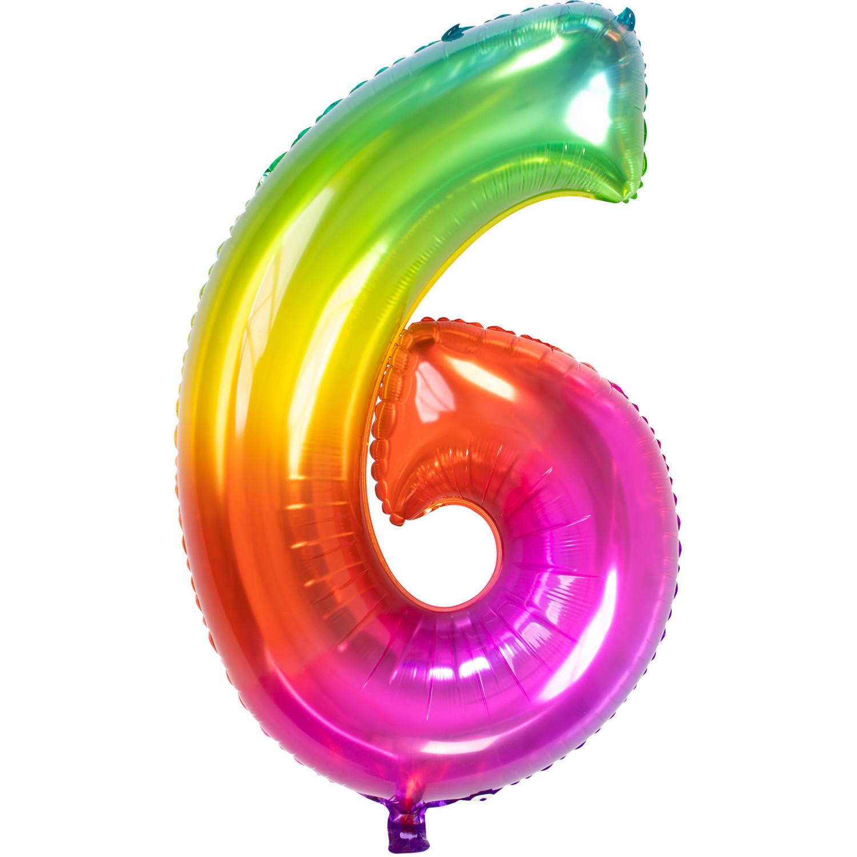 Cijfer 6  Folieballon Yummy Gummy Rainbow | 81cm