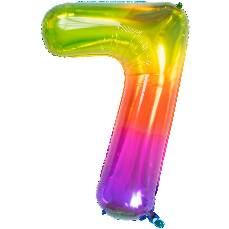 Cijfer 7  Folieballon Yummy Gummy Rainbow   81cm