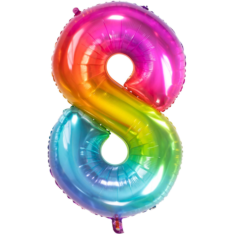 Cijfer 8  Folieballon Yummy Gummy Rainbow | 81cm