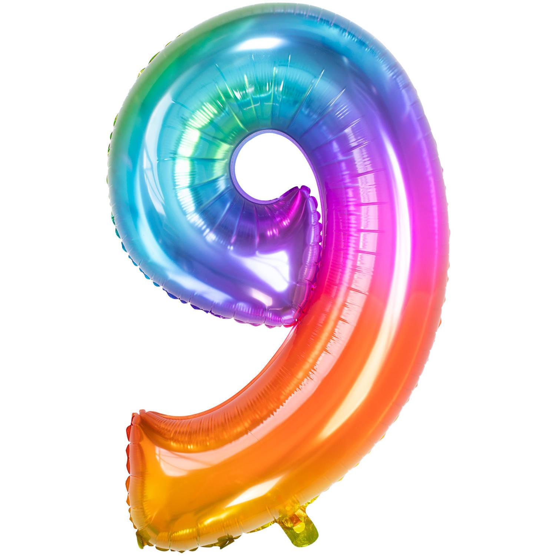Cijfer 9  Folieballon Yummy Gummy Rainbow | 81cm