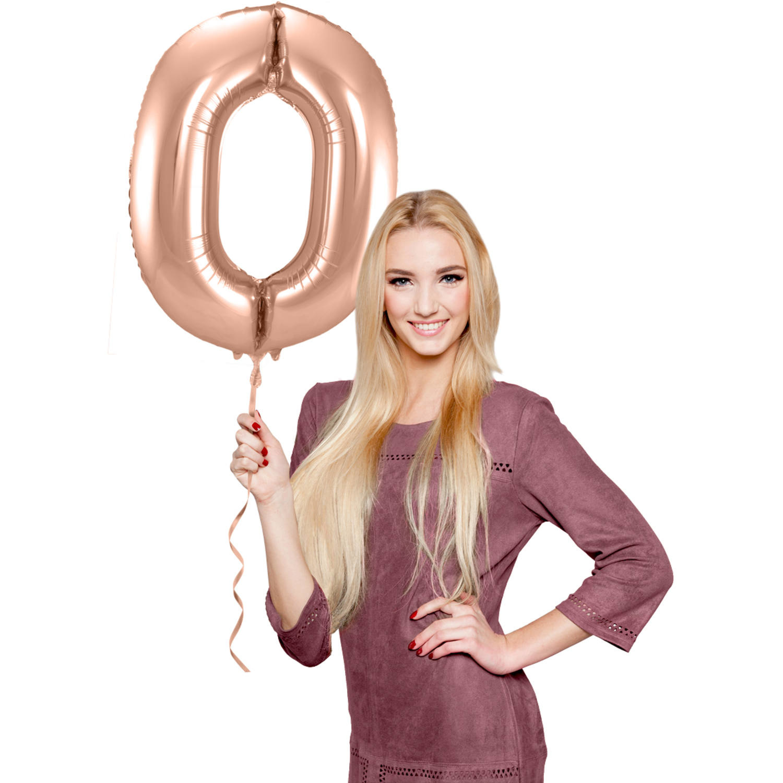 Cijfer 0  Folieballon Rosé Gold | 86cm