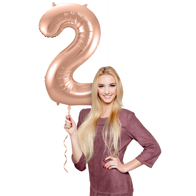 Cijfer 2  Folieballon Rosé Gold | 86cm