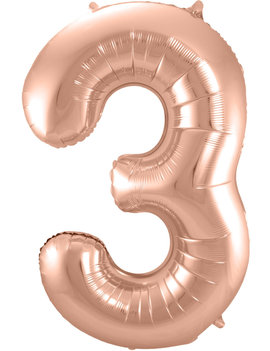 Cijfer 3  Folieballon Rosé Gold | 86cm