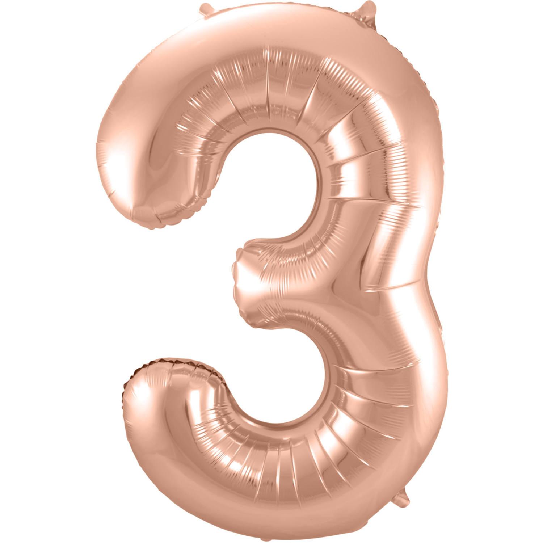 Cijfer 3  Folieballon Rosé Gold   86cm