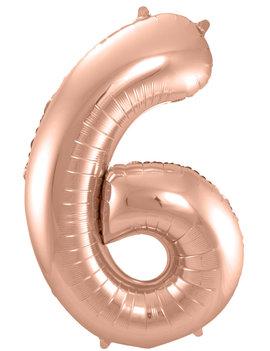 Cijfer 6  Folieballon Rosé Gold | 86cm