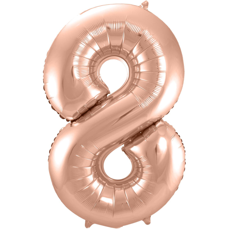 Cijfer 8  Folieballon Rosé Gold | 86cm