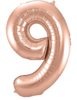 Cijfer 9  Folieballon Rosé Gold | 86cm