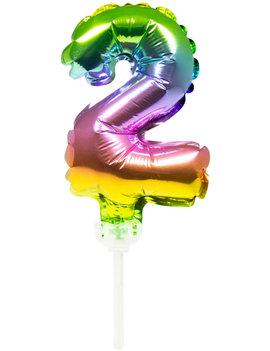 Cijfer 2 Folieballon Taart Topper | Regenboog