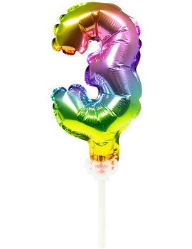 Cijfer 3 Folieballon Taart Topper | Regenboog