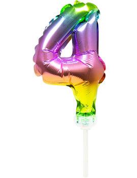 Cijfer 4 Folieballon Taart Topper | Regenboog