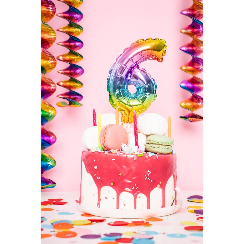 Cijfer 6 Folieballon Taart Topper   Regenboog