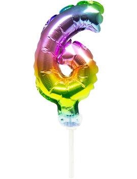 Cijfer 6 Folieballon Taart Topper | Regenboog