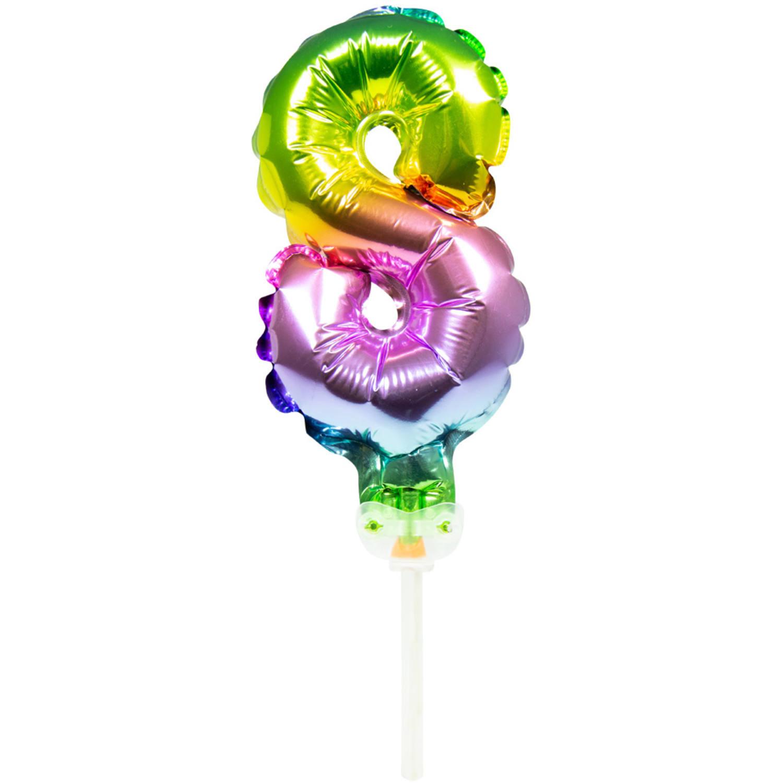 Cijfer 8 Folieballon Taart Topper | Regenboog