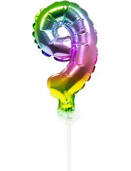 Cijfer 9 Folieballon Taart Topper | Regenboog
