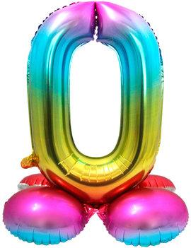 Folieballon Cijfer 0 | Met Standaard  | Regenboog