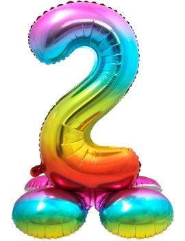Folieballon Cijfer 2 | Met Standaard  | Regenboog