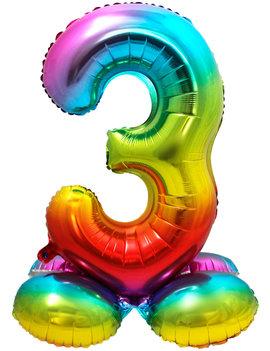 Folieballon Cijfer 3 | Met Standaard  | Regenboog