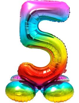 Folieballon Cijfer 5 | Met Standaard  | Regenboog