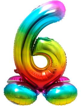 Folieballon Cijfer 6 | Met Standaard  | Regenboog
