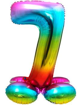 Folieballon Cijfer 7 | Met Standaard  | Regenboog