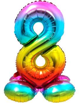 Folieballon Cijfer 8 | Met Standaard  | Regenboog