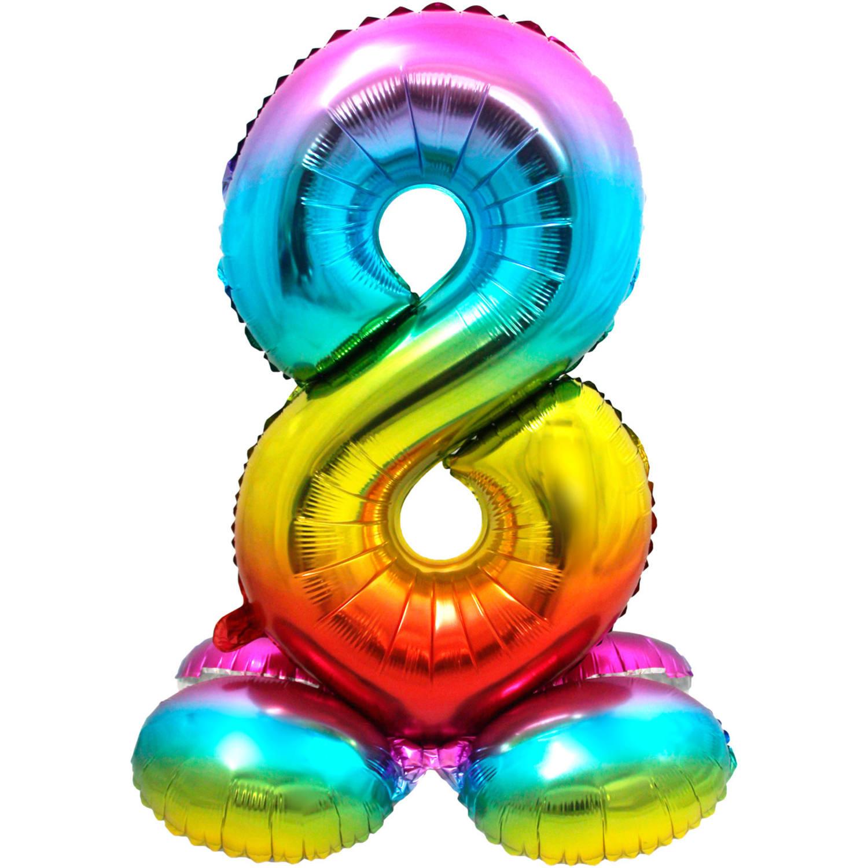 Folieballon Cijfer 8   Met Standaard    Regenboog