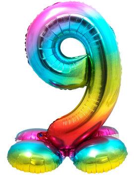 Folieballon Cijfer 9 | Met Standaard  | Regenboog
