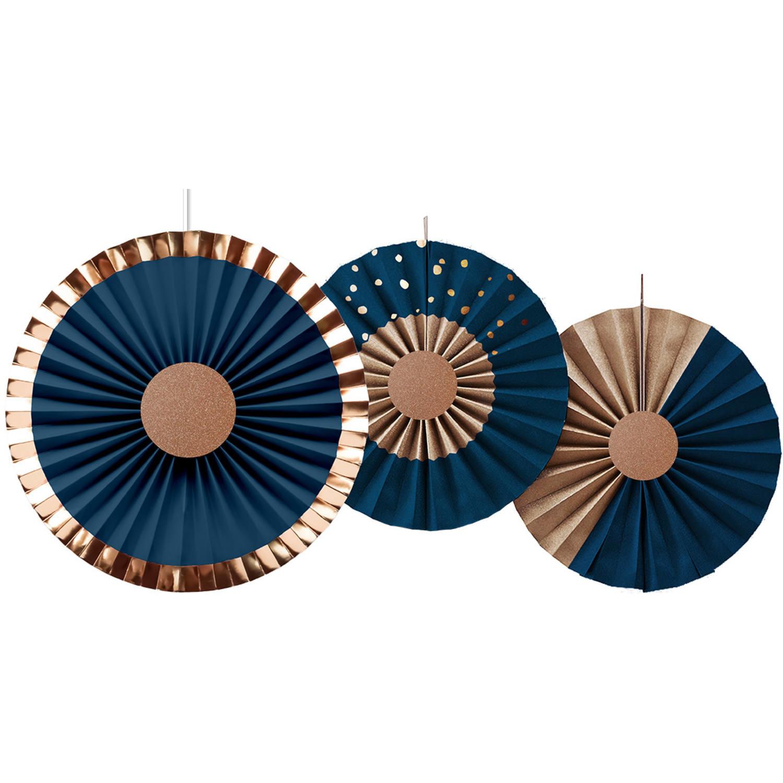Honeycomb Waaiers |  Blauw/ Goud | Elegant True Blue