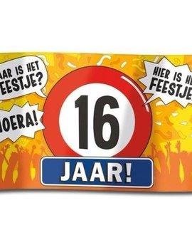 Gevelvlag  XXL | 16 Jaar Hoera! | 150cmx90cm