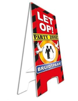 Party Waarschuwingsbord | Let op! Bruidspaar |  57cm x 25cm