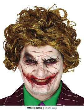 Pruik The Joker |  Pruik Horror met krulletjes