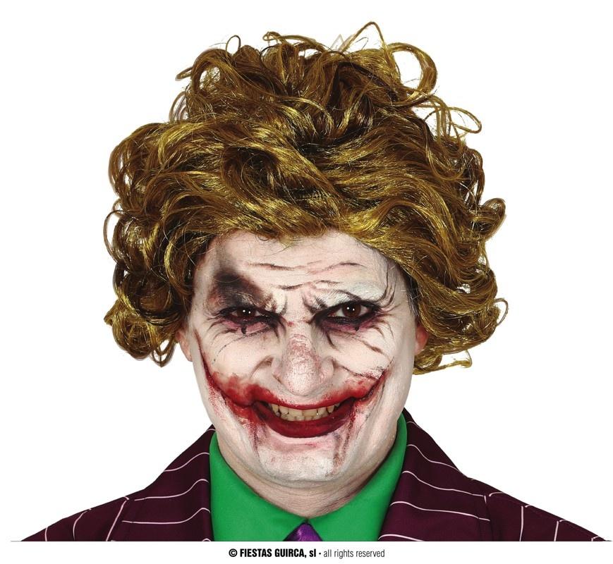 Pruik The Joker    Pruik Horror met krulletjes