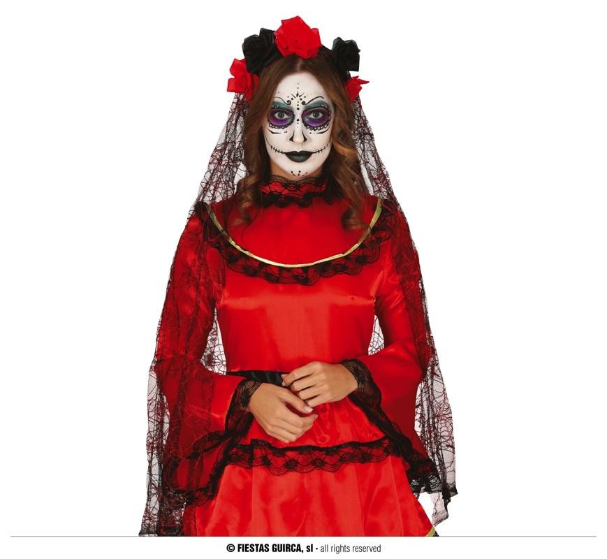 Diadeem Los Muertos | Rood/Zwart Roosjes