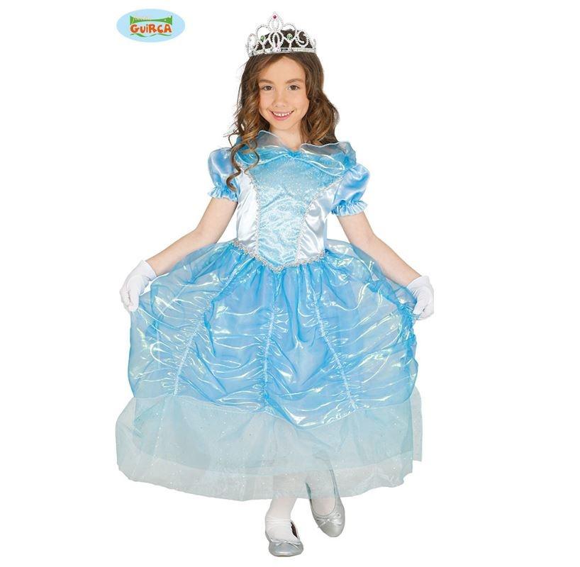 Prinsessenkleed Magali Blauw   Kinderkostuum